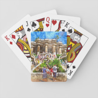Tourists at Parc Guell in Barcelona Spain Playing Cards