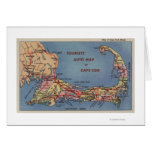 Tourists' Auto Map of Cape Cod Greeting Card