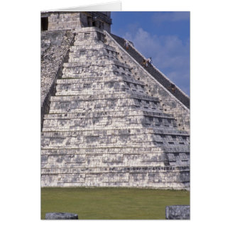 Tourists climbing stairs of El Castillo, stone Greeting Card