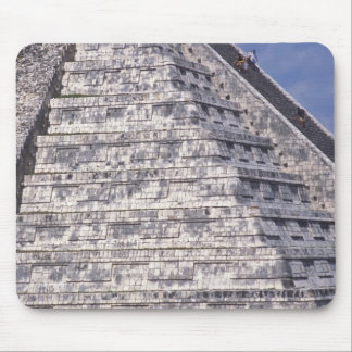 Tourists climbing stairs of El Castillo, stone Mouse Pad