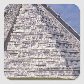 Tourists climbing stairs of El Castillo, stone Square Sticker