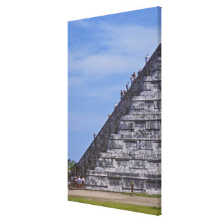 Tourists climbing stairs on ruins of El Gallery Wrapped Canvas