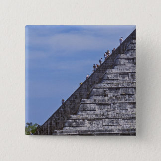 Tourists climbing stairs on ruins of El Pinback Button