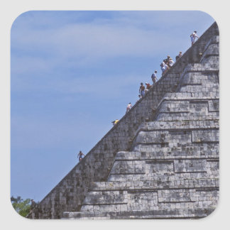 Tourists climbing stairs on ruins of El Square Sticker