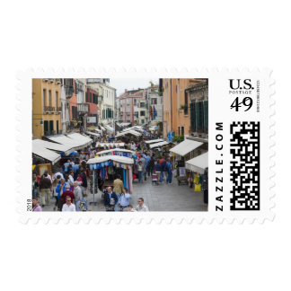 Tourists in a street market, Venice, Italy Stamps