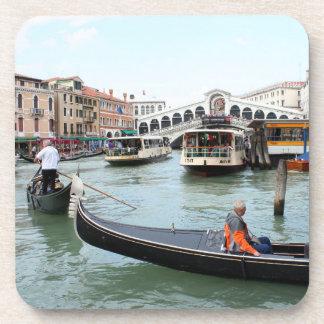 Tourists in Gondola look at Rialto Bridge, Venice Beverage Coaster
