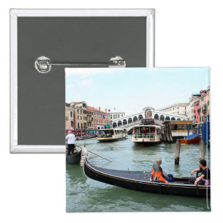 Tourists in Gondola look at Rialto Bridge, Venice Button