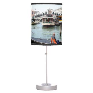 Tourists in Gondola look at Rialto Bridge, Venice Desk Lamp