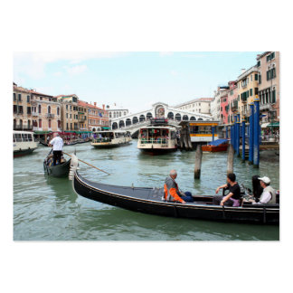 Tourists in Gondola look at Rialto Bridge, Venice Large Business Card