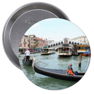 Tourists in Gondola look at Rialto Bridge, Venice Pinback Button