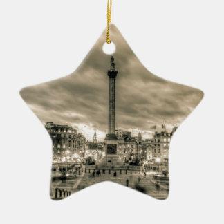 Tourists in Trafalgar Square London Christmas Tree Ornament