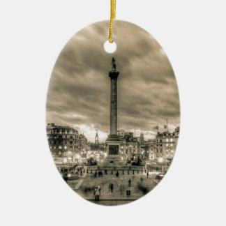 Tourists in Trafalgar Square London Christmas Tree Ornaments