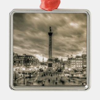Tourists in Trafalgar Square London Christmas Ornaments