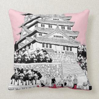 Tourists on Bridge Throw Pillows