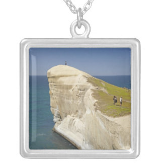 Tourists on cliff top at Tunnel Beach Personalized Necklace