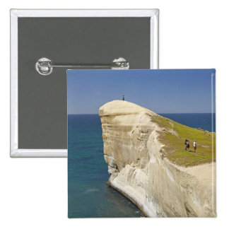 Tourists on cliff top at Tunnel Beach Pinback Button