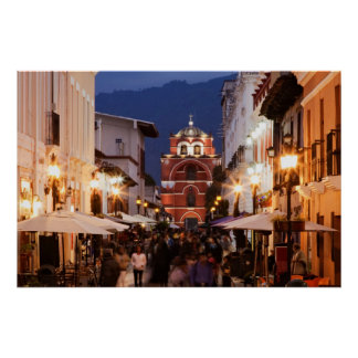 Tourists On San Cristobal De Las Casas Street Poster