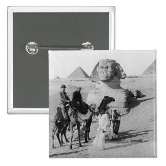 Tourists Traveling by Sphinx Pinback Button
