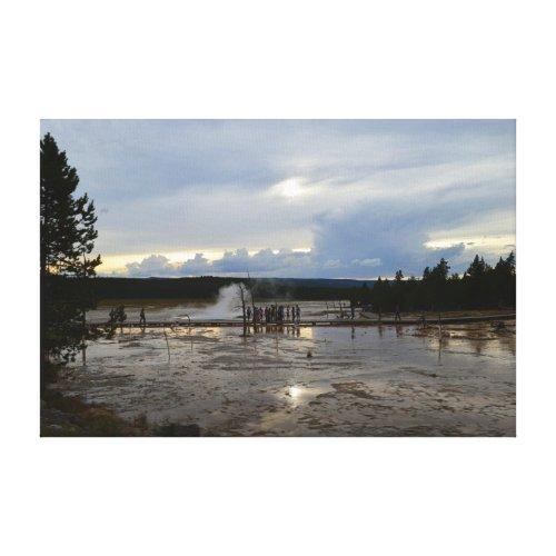 Tourists Visit Lower Geyser Basin of Yellowstone Canvas Print
