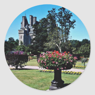 Tourlaville Chateau, France  flowers Classic Round Sticker