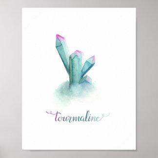 Tourmaline Gemstone Watercolor Poster