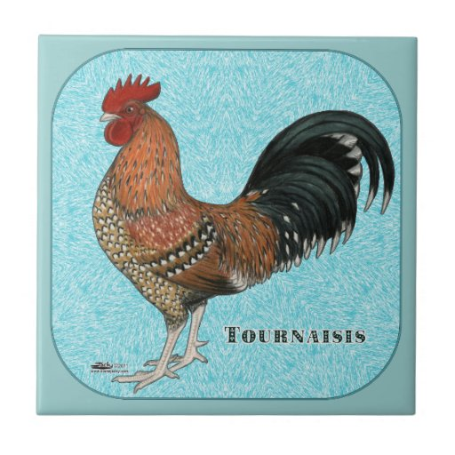 Tournaisis Rooster Small Square Tile