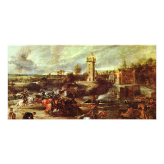 Tournament At A Castle By Rubens Peter Paul Customized Photo Card