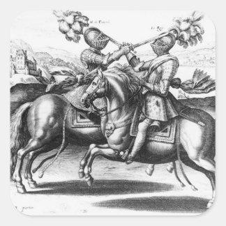 Tournament scene between Henri IV  and Antoine Square Sticker