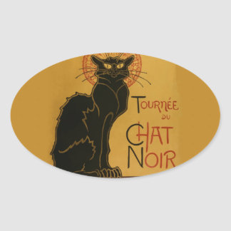 Tournee de Chat Noir Black Cat Oval Sticker