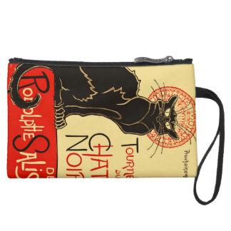 Tournée du Chat Noir Art Nouveau Suede Wristlet Wallet