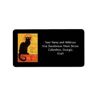 Tournée du Chat Noir, Steinlen Black Cat Vintage Address Label