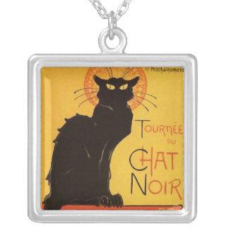 Tournée du Chat Noir, Steinlen Black Cat Vintage Square Pendant Necklace