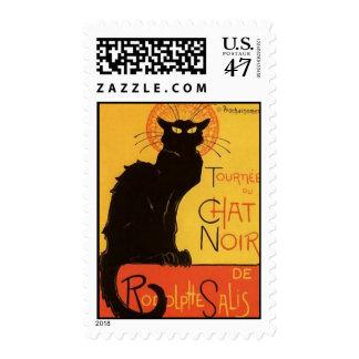 Tournée du Chat Noir, vintage del gato negro de Timbres Postales