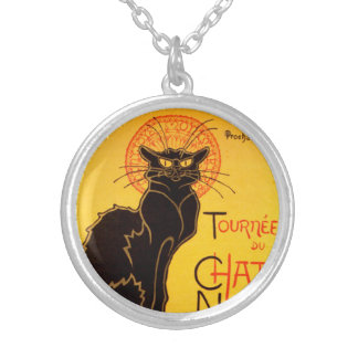 Tournée du Chat Noir - Vintage Poster Silver Plated Necklace
