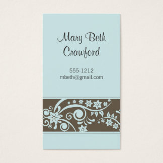 Tourquoise & Taupe Floral Business Card (#BUS 007)