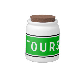 Tours, Road Sign, France Candy Dishes