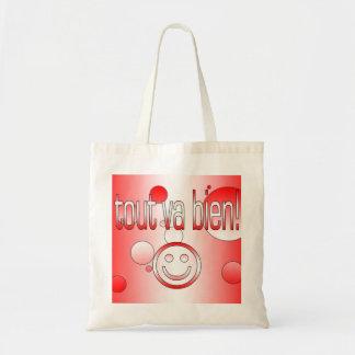 Tout va Bien! Canada Flag Colors Pop Art Budget Tote Bag