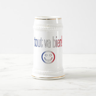 Tout va Bien! French Flag Colors Beer Stein