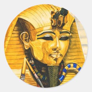 Toutankhamon gold mask watercolor classic round sticker