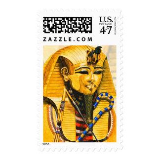 Toutankhamon gold mask watercolor postage