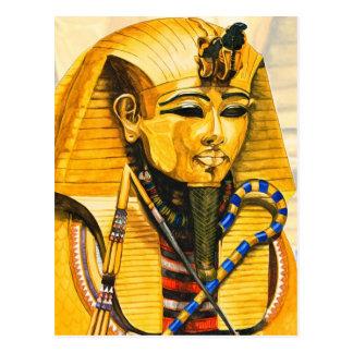 Toutankhamon gold mask watercolor postcard