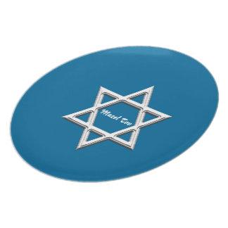 Tov-Estrella de Mazel de David-Azul Platos Para Fiestas