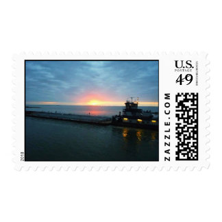 Tow Boat on the River at Sunrise Postage