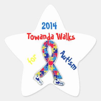 Towanda camina para los pegatinas del autismo pegatinas forma de estrella