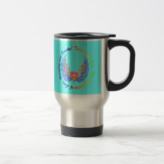 Toward the One turquoise background mug