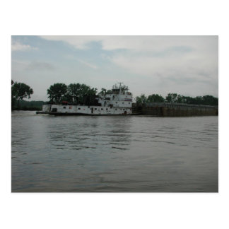 Towboats on the Illinois River Postcard