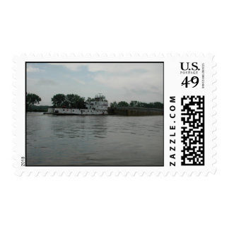 Towboats on the Illinois River Stamp