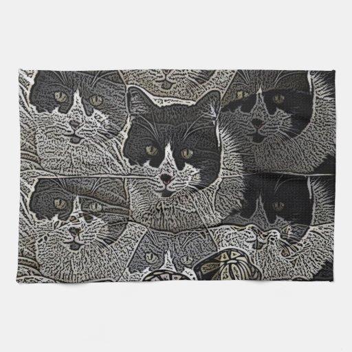 towe blanco y negro de la cocina del gatito del di toalla de mano