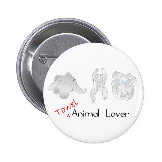 Towel Animal Lover 2 Inch Round Button
