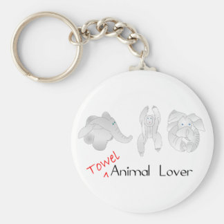 Towel Animal Lover Basic Round Button Keychain